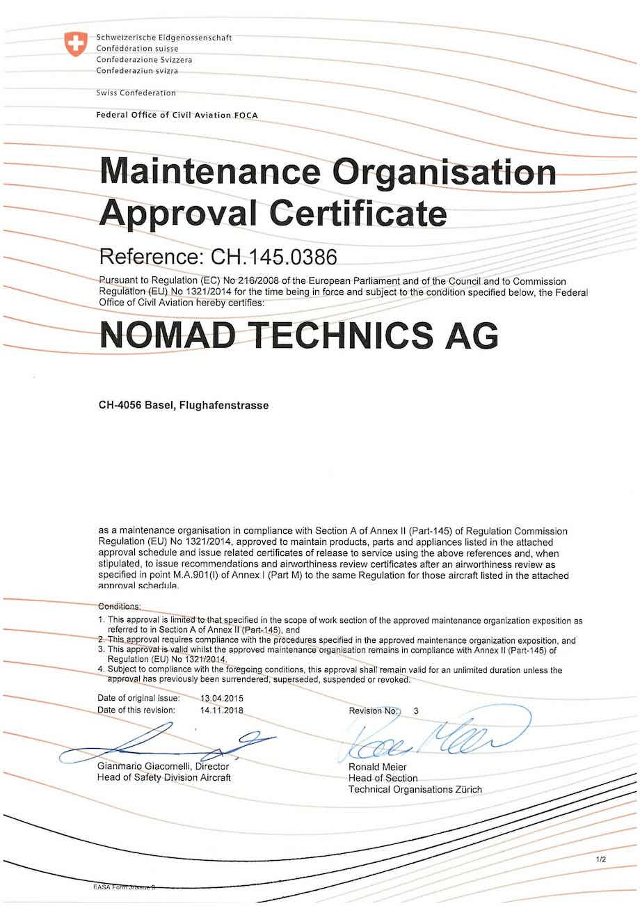 Nomad Technics receives EASA Part-145 approval for line and base maintenance