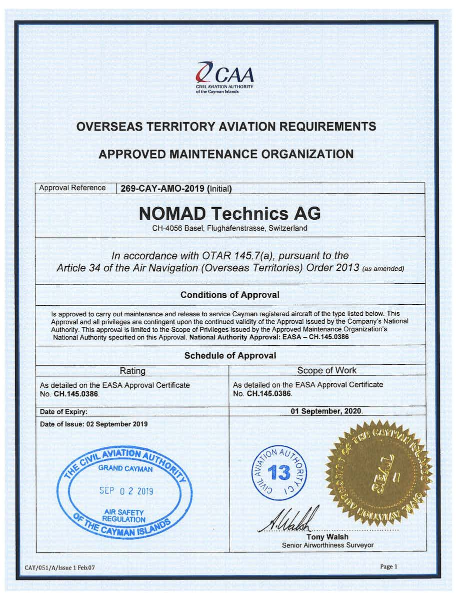Nomad Technics AG receives Cayman Islands maintenance approval