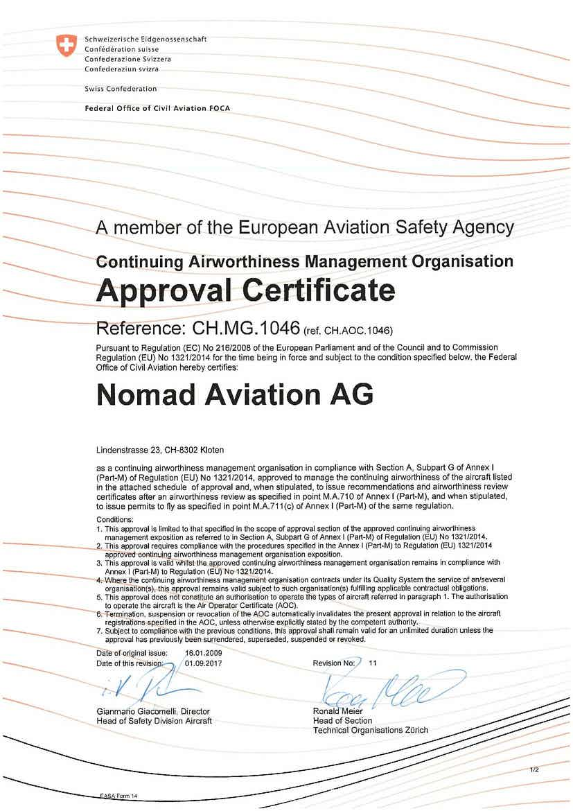Nomad Aviation has been awarded the CAMO+ certificate as of September 01, 2017