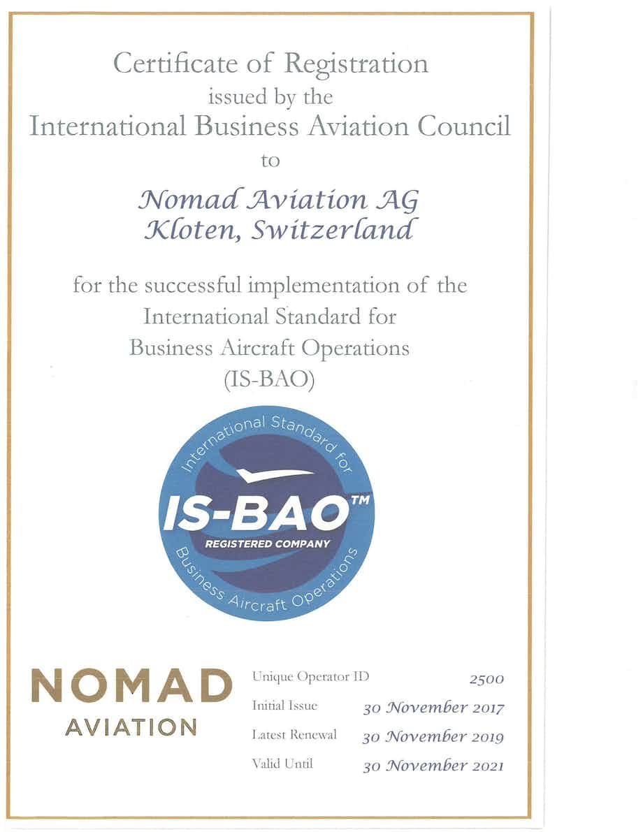 Nomad Aviation successfully passes IS-BAO Stage 2 audit and receives certificate
