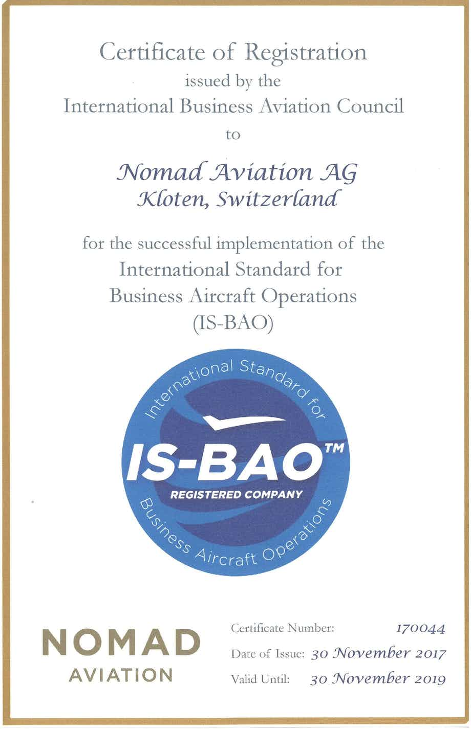 Nomad Aviation receives IS-BAO Registration Certificate