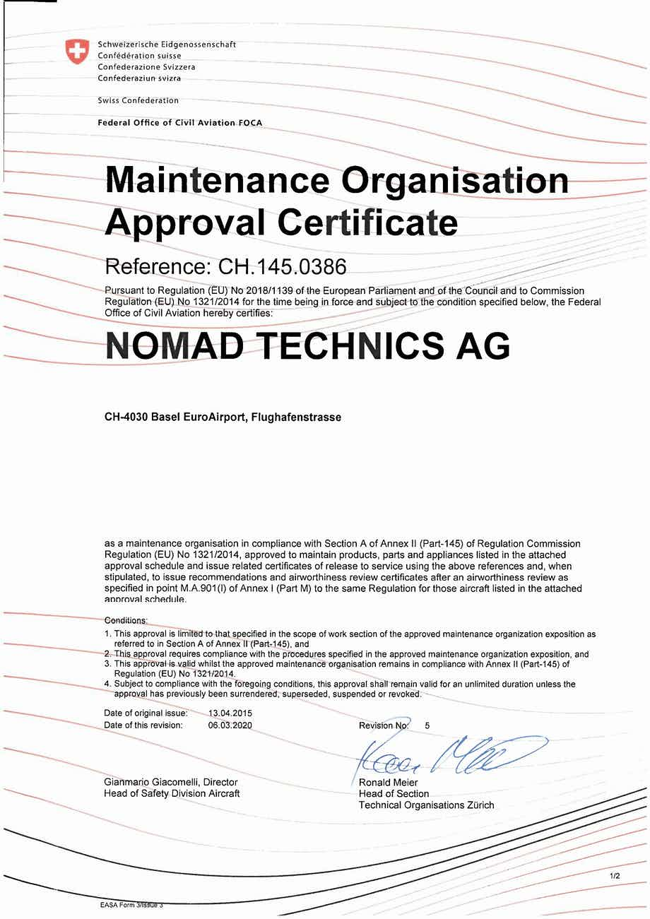 Nomad Technics receives EASA Part-145 Line Maintenance Approval for Airbus A320 family