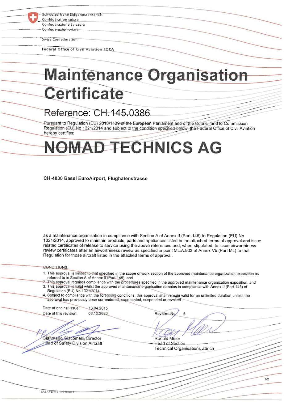 Nomad Technics receives EASA Part-145 Maintenance Approval Extension for Base Maintenance on Airbus A320 family and Boeing B737NG series aircraft.